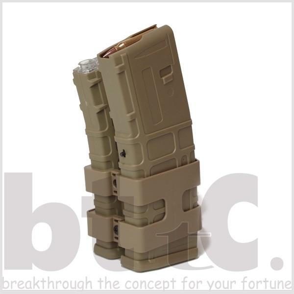 【CONRAD】M4/M16用 リブデザイン エレクトリックダブルマガジン 電動巻き上げ式ダミーカート付 TAN bttc