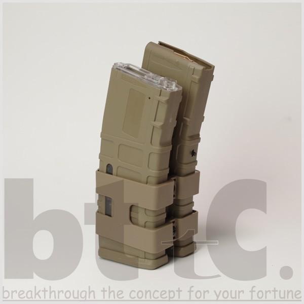 【CONRAD】M4/M16用 リブデザイン エレクトリックダブルマガジン 電動巻き上げ式ダミーカート付 TAN bttc 02