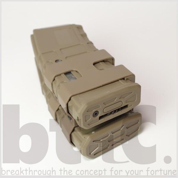 【CONRAD】M4/M16用 リブデザイン エレクトリックダブルマガジン 電動巻き上げ式ダミーカート付 TAN bttc 04