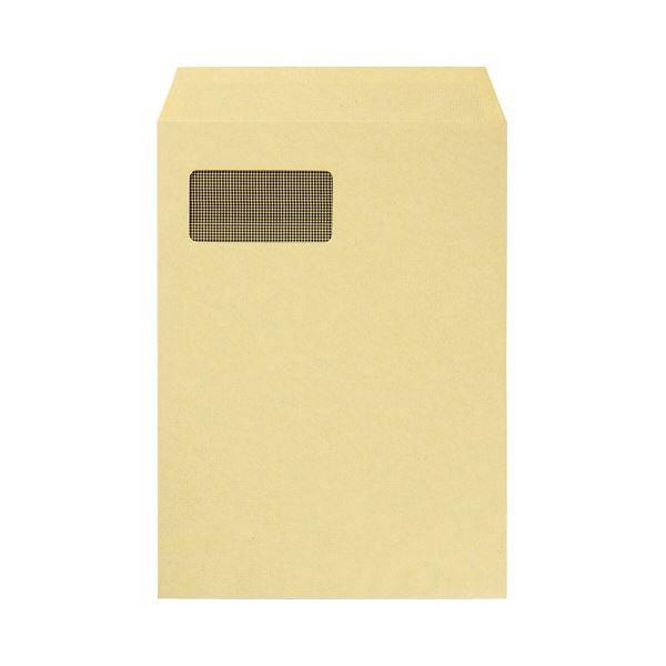 (まとめ) TANOSEE 窓付クラフト封筒 A4 裏地紋付 85g/m2 1パック(100枚) 〔×2セット〕