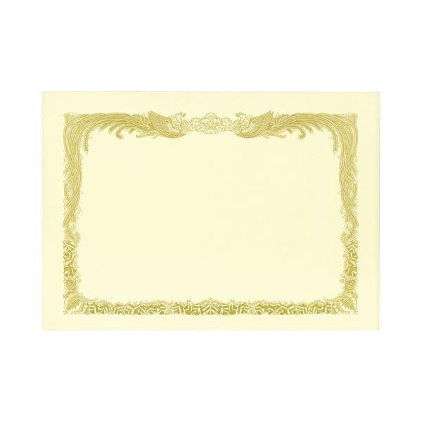 (まとめ) TANOSEE 賞状用紙 クリーム A4 タテ書用 業務用パック 1ケース(100枚) 〔×2セット〕