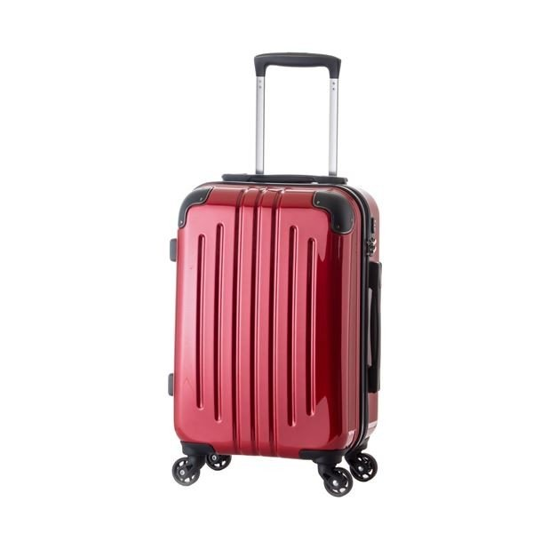 軽量スーツケース/キャリーバッグ 〔レッド〕 61L 3.8kg ファスナー 大型キャスター TSAロック
