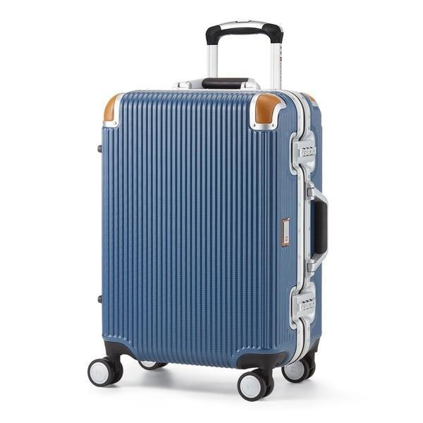 軽量 スーツケース/旅行カバン 〔34L ブルー〕 1〜3泊用 ポリカーボネード TSAロック 4輪ダブルキャスター スイスミリタリー〔代引不可〕