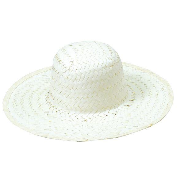 (まとめ)ホワイト麦わら帽子 大(ひも付き) 〔×10個セット〕