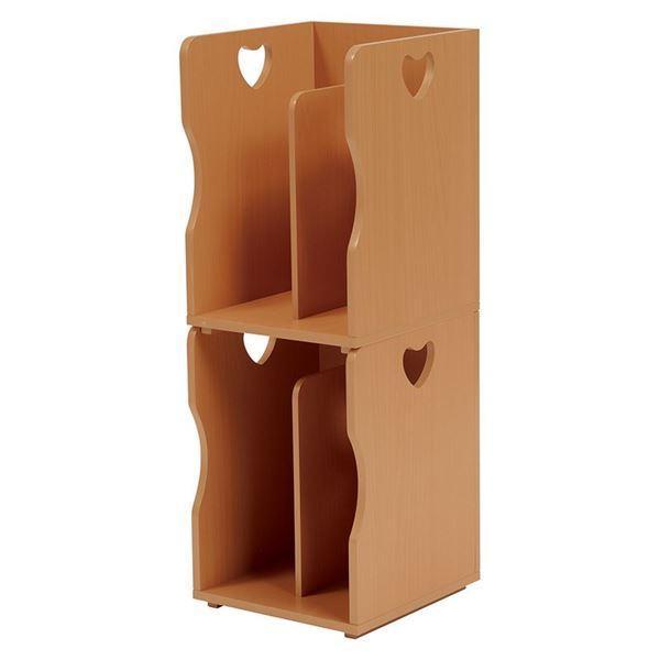 ブックスタンド/本立て 4個セット 〔ナチュラル A4サイズ対応〕 幅24.5cm 木材 仕切り付 〔パソコンデスク 勉強机〕〔代引不可〕