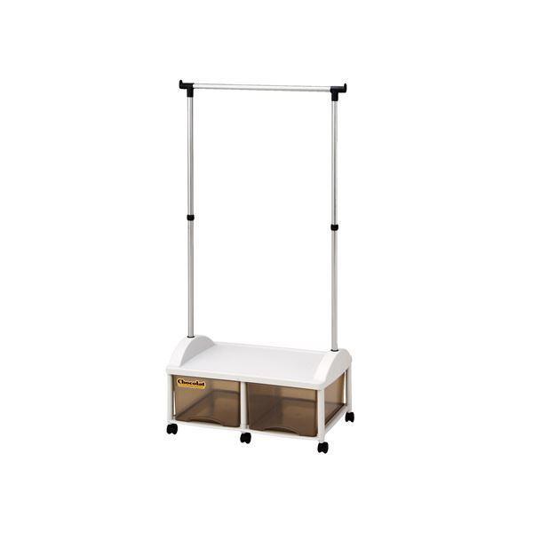 ハンガーラック/衣類収納 〔2W型〕 66×44.5×140cm 日本製 引き出し キャスター付き ハンガーボックス 〔寝室 ベッドルーム〕〔代引不可〕