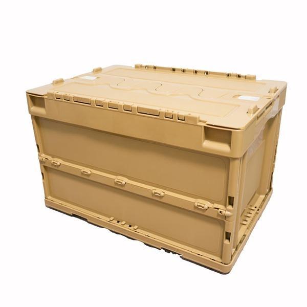 折りたたみコンテナ/収納ボックス 〔5個セット 50L〕 ベージュ コヨーテ 蓋付 スライドロック付 日本製 オリコン 〔アウトドア〕〔代引不可〕