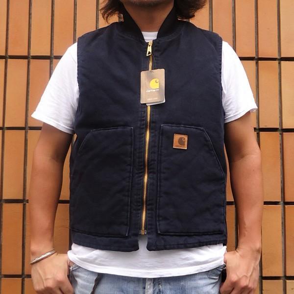 カーハート サンドストーン ベスト ミッドナイト ネイビー Carhartt V02 Sandstone Vest Quilt-Lined V02MDT アメカジ|buddy-us-clothing
