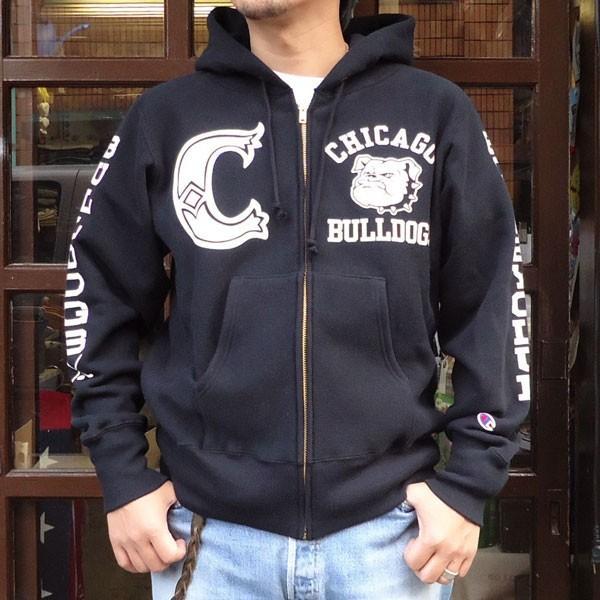 チャンピオン Champion BUDDY 別注 リバースウィーブ フルジップパーカー(BULLDOGS) チャンピオン トレーナー アメカジ|buddy-us-clothing
