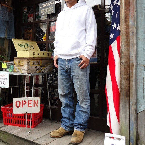 ラッセル ジャージーズバディ BUDDY×JERZEES プルオーバーパーカー ホワイト・ブラック・グレー・ネイビー RUSSELL メンズ アメカジ|buddy-us-clothing|03