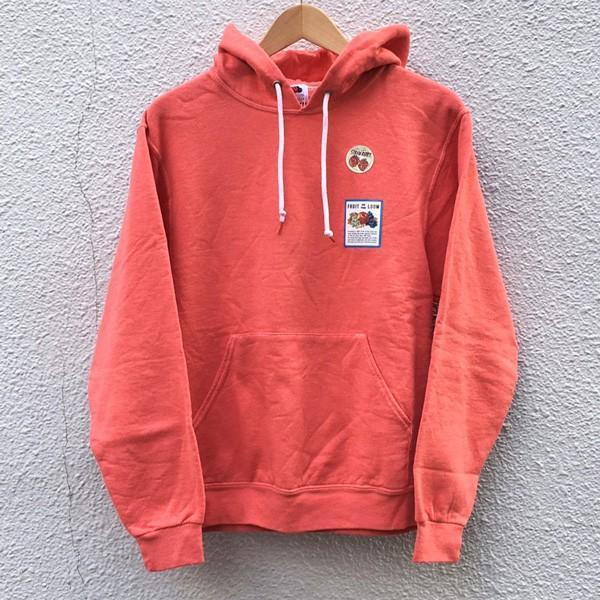 フルーツ・オブ・ザ・ルーム FRUIT OF THE LOOM フルーツ染め プルオーバーパーカー ストロベリー スウェットパーカー 裏起毛 アメカジ 赤|buddy-us-clothing