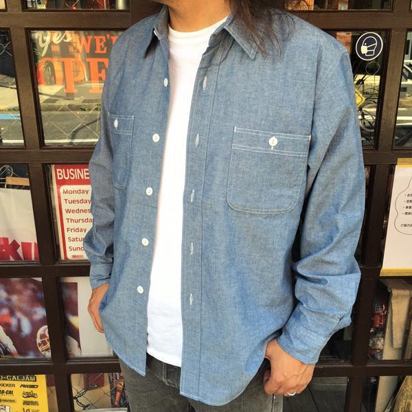シャンブレーシャツ サックスブルー BUDDY オリジナル SPRINGFORD アメカジ メンズ 長袖 ワークシャツ CHAMBRAY SHIRTS|buddy-us-clothing