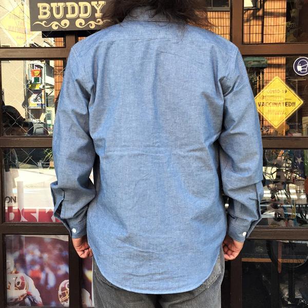 シャンブレーシャツ サックスブルー BUDDY オリジナル SPRINGFORD アメカジ メンズ 長袖 ワークシャツ CHAMBRAY SHIRTS|buddy-us-clothing|02