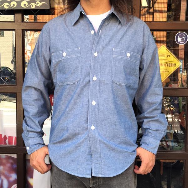 シャンブレーシャツ サックスブルー BUDDY オリジナル SPRINGFORD アメカジ メンズ 長袖 ワークシャツ CHAMBRAY SHIRTS|buddy-us-clothing|03
