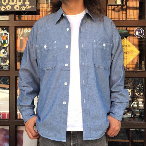 シャンブレーシャツ サックスブルー BUDDY オリジナル SPRINGFORD アメカジ メンズ 長袖 ワークシャツ CHAMBRAY SHIRTS|buddy-us-clothing|04