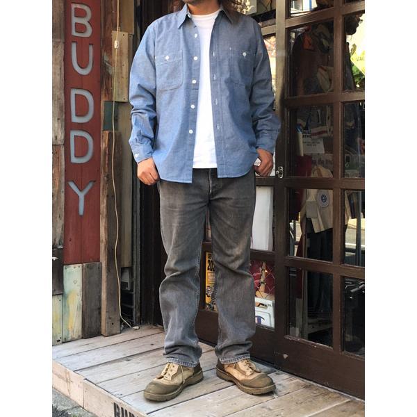 シャンブレーシャツ サックスブルー BUDDY オリジナル SPRINGFORD アメカジ メンズ 長袖 ワークシャツ CHAMBRAY SHIRTS|buddy-us-clothing|05