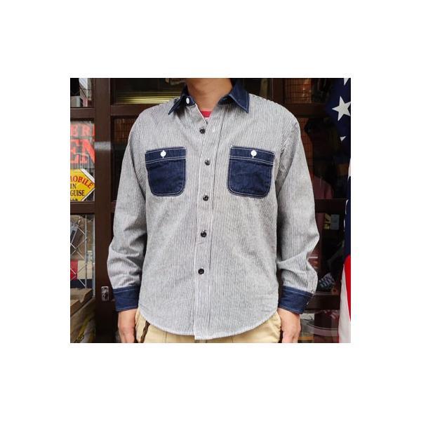 ワークシャツ BUDDY オリジナル SPRINGFORD 2TONE WORK SHIRT ヒッコリー×デニム 長袖 アメカジ デニムシャツ ヒッコリーストライプ|buddy-us-clothing