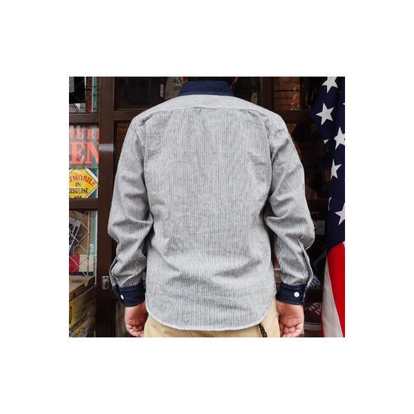 ワークシャツ BUDDY オリジナル SPRINGFORD 2TONE WORK SHIRT ヒッコリー×デニム 長袖 アメカジ デニムシャツ ヒッコリーストライプ|buddy-us-clothing|02