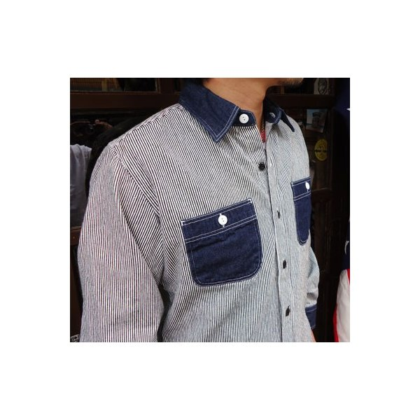 ワークシャツ BUDDY オリジナル SPRINGFORD 2TONE WORK SHIRT ヒッコリー×デニム 長袖 アメカジ デニムシャツ ヒッコリーストライプ|buddy-us-clothing|03