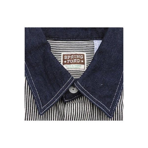 ワークシャツ BUDDY オリジナル SPRINGFORD 2TONE WORK SHIRT ヒッコリー×デニム 長袖 アメカジ デニムシャツ ヒッコリーストライプ|buddy-us-clothing|05