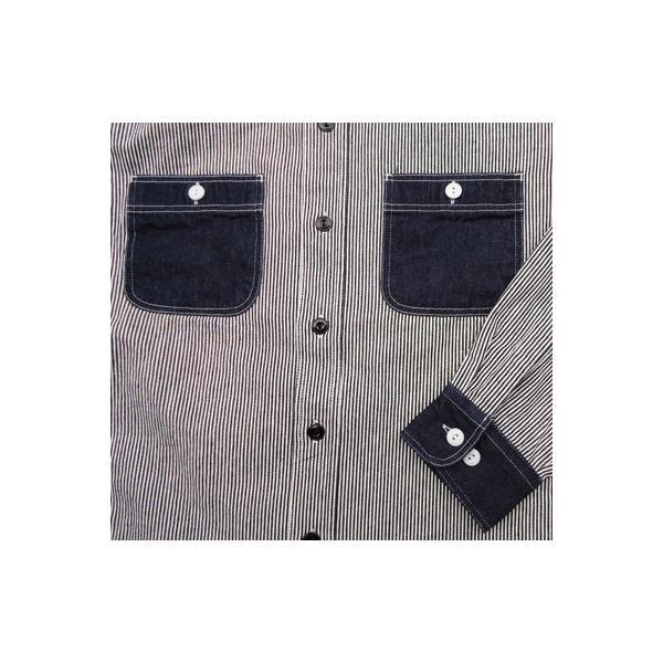 ワークシャツ BUDDY オリジナル SPRINGFORD 2TONE WORK SHIRT ヒッコリー×デニム 長袖 アメカジ デニムシャツ ヒッコリーストライプ|buddy-us-clothing|06