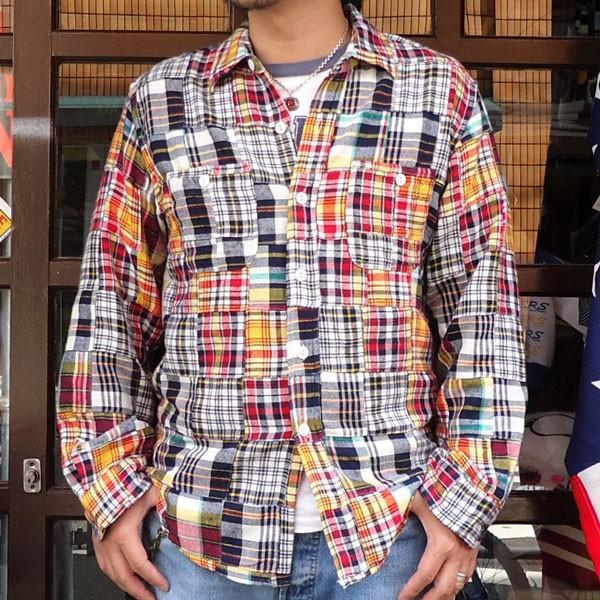 パッチワークネルシャツ BUDDY オリジナル SPRINGFORD マルチカラー アメカジ メンズ 長袖 Patch Work Flannel shirt|buddy-us-clothing