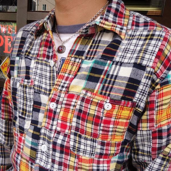パッチワークネルシャツ BUDDY オリジナル SPRINGFORD マルチカラー アメカジ メンズ 長袖 Patch Work Flannel shirt|buddy-us-clothing|03