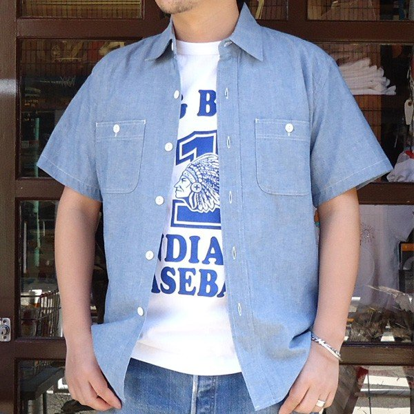 シャンブレーシャツ 半袖 サックスブルー BUDDYオリジナル SPRINGFORD アメカジ メンズ ワークシャツ SHORT SLEEVES CHAMBRAY SHIRT|buddy-us-clothing