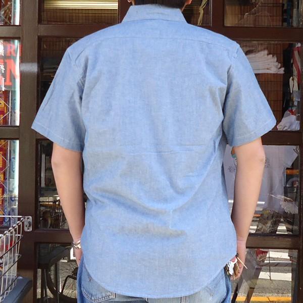 シャンブレーシャツ 半袖 サックスブルー BUDDYオリジナル SPRINGFORD アメカジ メンズ ワークシャツ SHORT SLEEVES CHAMBRAY SHIRT|buddy-us-clothing|02