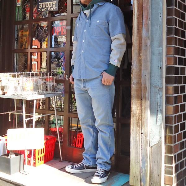 シャンブレーシャツ 半袖 サックスブルー BUDDYオリジナル SPRINGFORD アメカジ メンズ ワークシャツ SHORT SLEEVES CHAMBRAY SHIRT|buddy-us-clothing|04