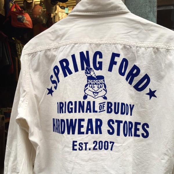 シャンブレーシャツ オフホワイト バックプリント BUDDYオリジナル SPRINGFORD アメカジ メンズ ワークシャツ CHAMBRAY SHIRT GO USA|buddy-us-clothing