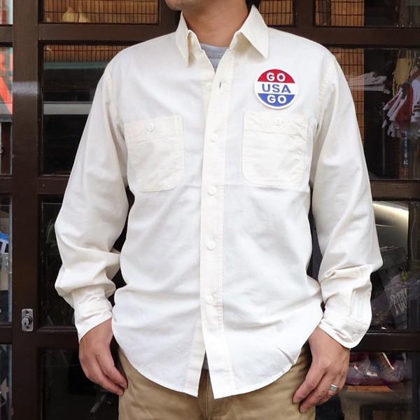 シャンブレーシャツ オフホワイト バックプリント BUDDYオリジナル SPRINGFORD アメカジ メンズ ワークシャツ CHAMBRAY SHIRT GO USA|buddy-us-clothing|02