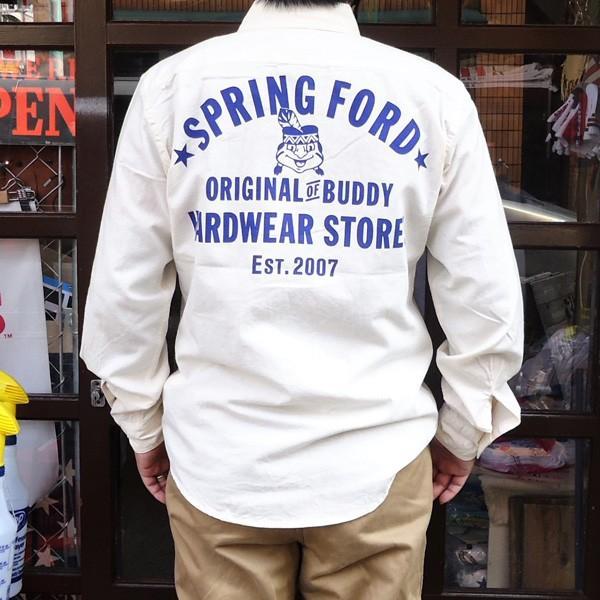 シャンブレーシャツ オフホワイト バックプリント BUDDYオリジナル SPRINGFORD アメカジ メンズ ワークシャツ CHAMBRAY SHIRT GO USA|buddy-us-clothing|03