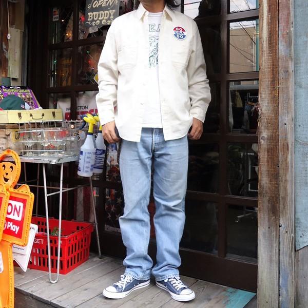 シャンブレーシャツ オフホワイト バックプリント BUDDYオリジナル SPRINGFORD アメカジ メンズ ワークシャツ CHAMBRAY SHIRT GO USA|buddy-us-clothing|05