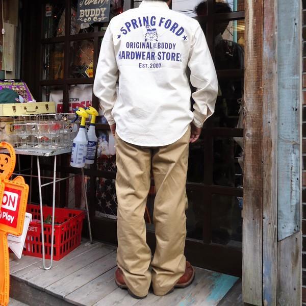 シャンブレーシャツ オフホワイト バックプリント BUDDYオリジナル SPRINGFORD アメカジ メンズ ワークシャツ CHAMBRAY SHIRT GO USA|buddy-us-clothing|06