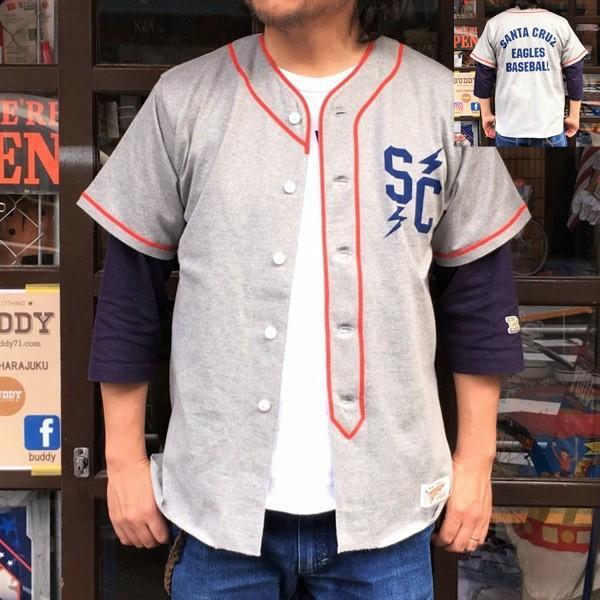 ベースボール ユニフォーム シャツ BUDDY オリジナル SPRINGFORD 半袖 シャツ SANTACRUZ EAGLES BASEBALL サンタクルーズ イーグルス アメカジ buddy-us-clothing