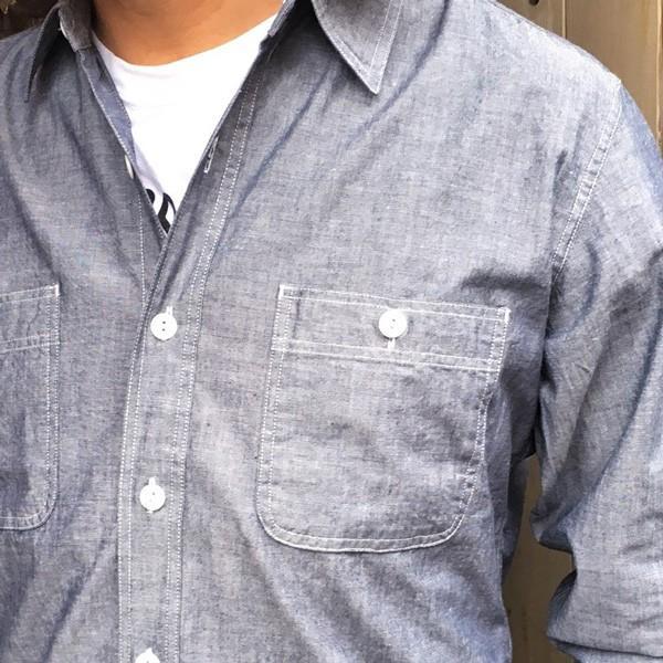 シャンブレーシャツ ネイビー BUDDY オリジナル SPRINGFORD アメカジ メンズ 長袖 ワークシャツ NAVY CHAMBRAY SHIRTS buddy-us-clothing 03