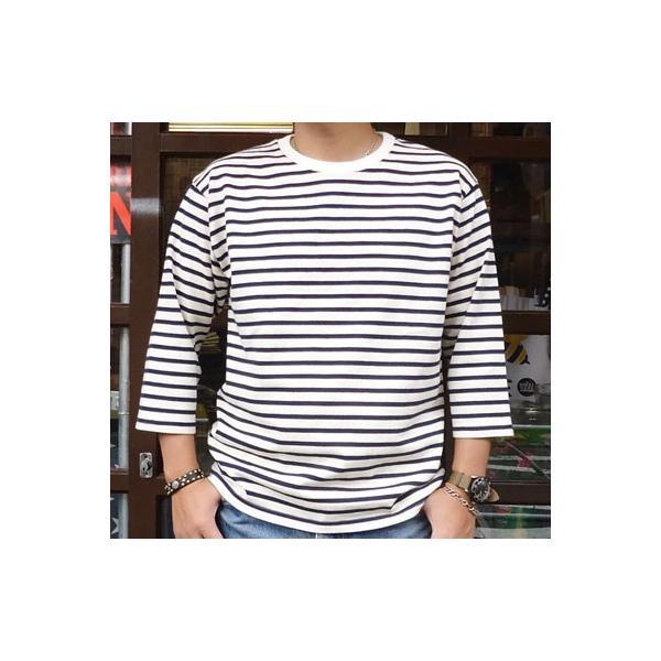 バディ SPRINGFORD BUDDY オリジナル 3/4スリーブ ボーダーTシャツ(オフホワイト×ネイビー)アメカジ 七分袖|buddy-us-clothing