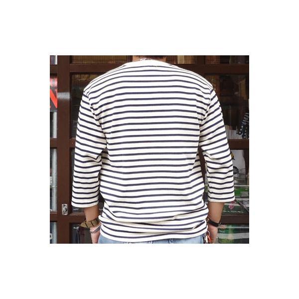 バディ SPRINGFORD BUDDY オリジナル 3/4スリーブ ボーダーTシャツ(オフホワイト×ネイビー)アメカジ 七分袖|buddy-us-clothing|02