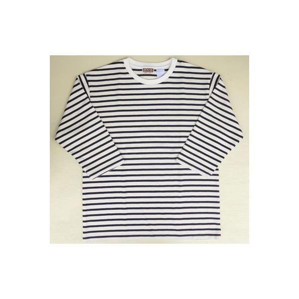 バディ SPRINGFORD BUDDY オリジナル 3/4スリーブ ボーダーTシャツ(オフホワイト×ネイビー)アメカジ 七分袖|buddy-us-clothing|03