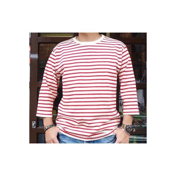 バディ SPRINGFORD BUDDY オリジナル 3/4スリーブ ボーダーTシャツ(アイボリー×レッド)アメカジ 七分袖|buddy-us-clothing