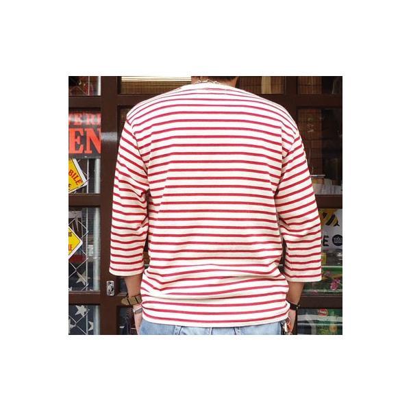 バディ SPRINGFORD BUDDY オリジナル 3/4スリーブ ボーダーTシャツ(アイボリー×レッド)アメカジ 七分袖|buddy-us-clothing|02