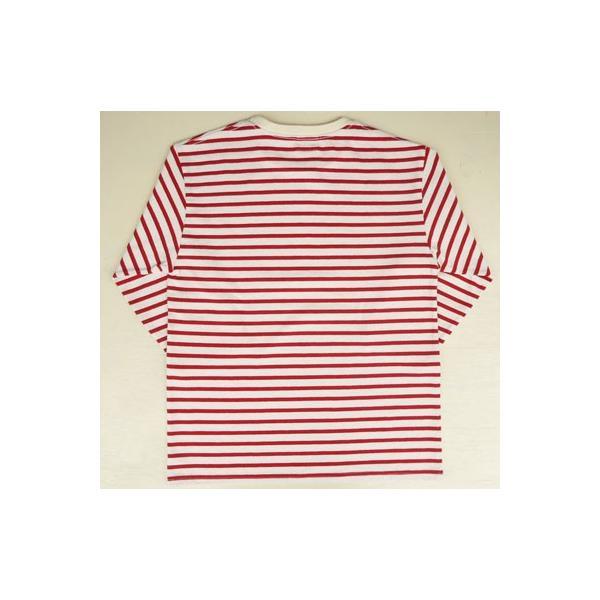 バディ SPRINGFORD BUDDY オリジナル 3/4スリーブ ボーダーTシャツ(アイボリー×レッド)アメカジ 七分袖|buddy-us-clothing|04