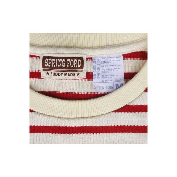 バディ SPRINGFORD BUDDY オリジナル 3/4スリーブ ボーダーTシャツ(アイボリー×レッド)アメカジ 七分袖|buddy-us-clothing|05