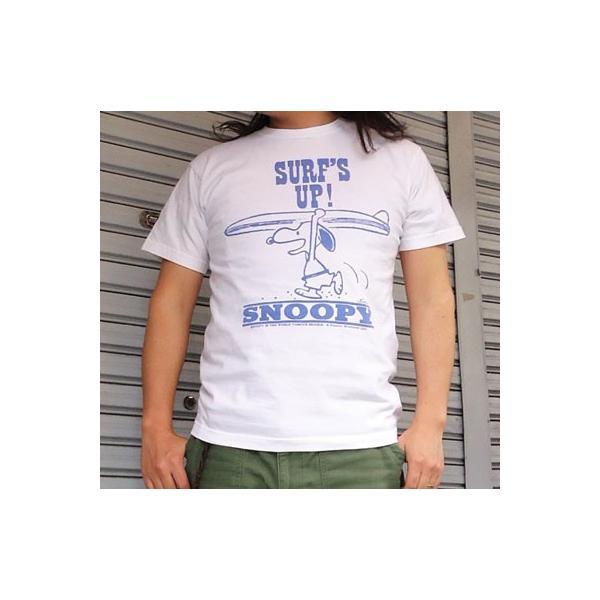 スヌーピーTシャツ PEANUTS BUDDY 別注(SURF'S UP) SNOOPY ピーナッツ サーフ サーフィン|buddy-us-clothing