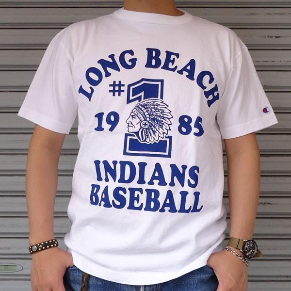 チャンピオン Champion USA製 BUDDY 別注 T1011 MADE IN U.S.A.プリントTシャツ(LONG BEACH INDIANS BASEBALL 1985)アメリカ製 ティーテンイレブン ベースボール|buddy-us-clothing