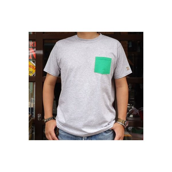 別注 フルーツオブザルーム FRUIT OF THE LOOM BUDDY別注 2TONE ポケット付きTシャツ ヘザーグレー×ケリーグリーン ポケT アメカジ ツートーン|buddy-us-clothing