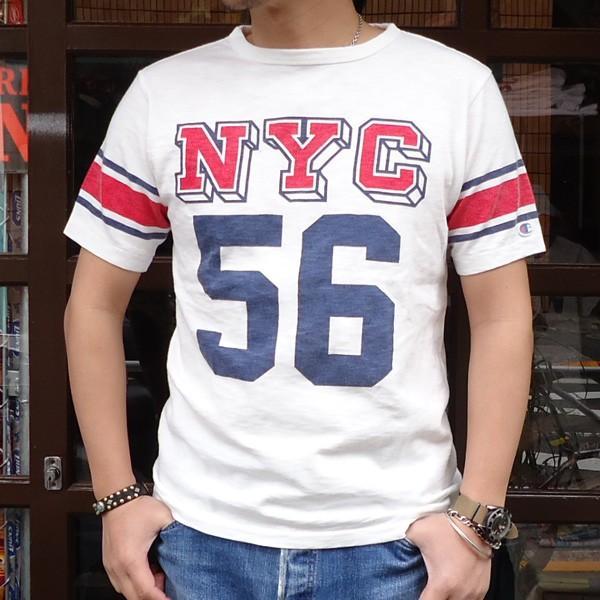 別注 チャンピオン Champion ロチェスター フットボール ラインTシャツ NYC 56 BUDDY別注 17SS Rochester (C3-K311) アメカジ オフホワイト ニューヨーク|buddy-us-clothing
