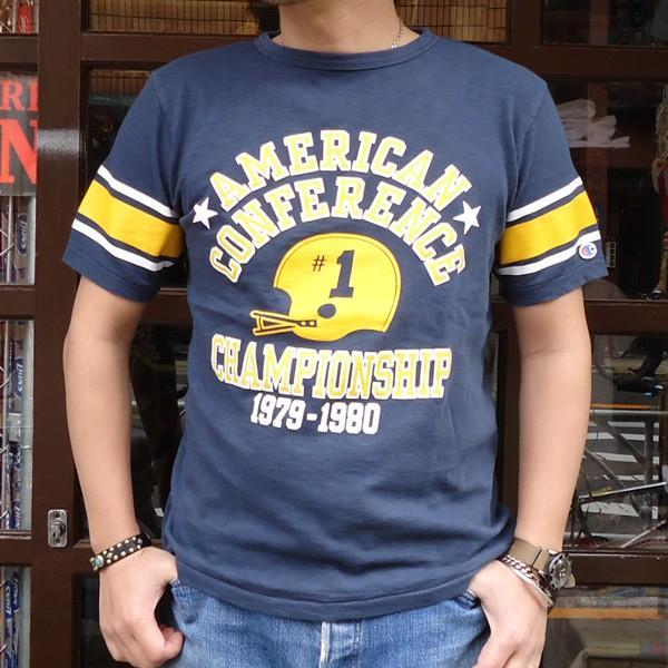 別注 チャンピオン Champion ロチェスター フットボール ラインTシャツ★AMERICAN★CONFERENCE BUDDY別注 17SS Rochester (C3-K311) アメカジ ネイビー|buddy-us-clothing