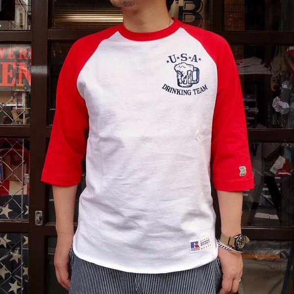 ラッセルアスレチック RUSSELL ATHLETIC ベースボールTシャツ BUDDY別注 (U.S.A.DRINKING TEAM) アメカジ メンズ BaseBall 七分袖|buddy-us-clothing